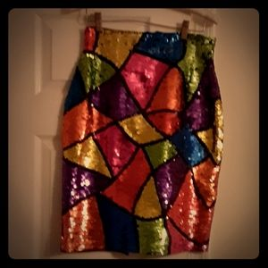 Vintage sequin skirt w slit in back